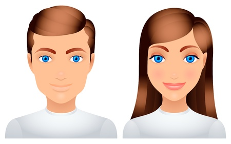 young man smiling: Man and woman. Illustration