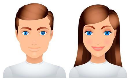 ansikten: Man och kvinna. Illustration