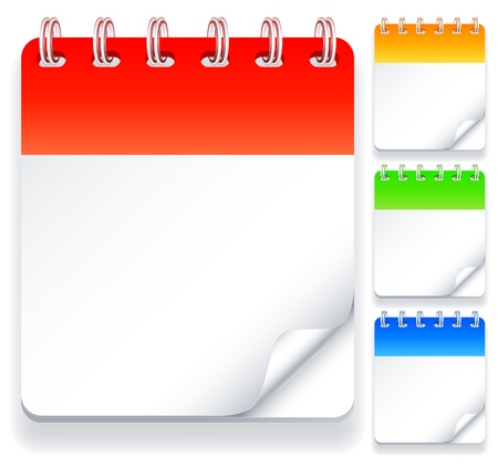 calendar icons: Color calendars with blank pages. Illustration