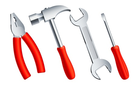 Set of 4 construction tools with red handles. Vector