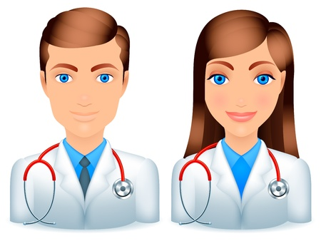 lab coats: Cartoon male and female doctors with stethoscopes.