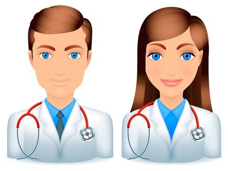hospital dibujo animado: Dibujos hombres y mujeres médicos con estetoscopios.