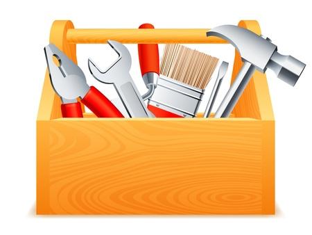 herramientas carpinteria: Caja de herramientas de madera llena de herramientas.