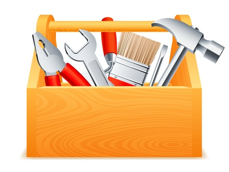 Wooden toolbox full of tools. Vector