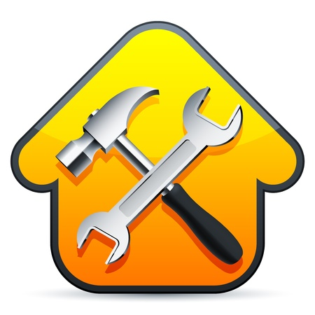 home improvement: Hammer and wrench over construction sign. Illustration