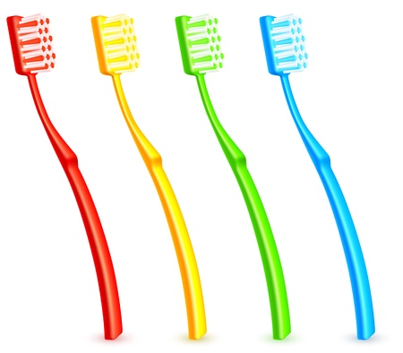 cleaning bathroom: Color toothbrushes.