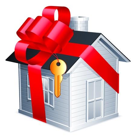 赤いリボンと金色の鍵の小さな家。