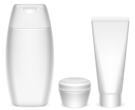 shampoo hair: Cosmetics containers. Illustration