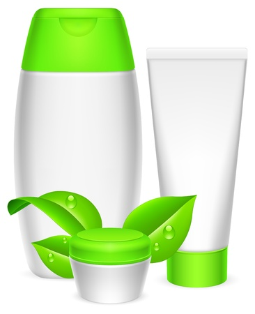cosmetics collection: Three white cosmetics containers and green leaves.