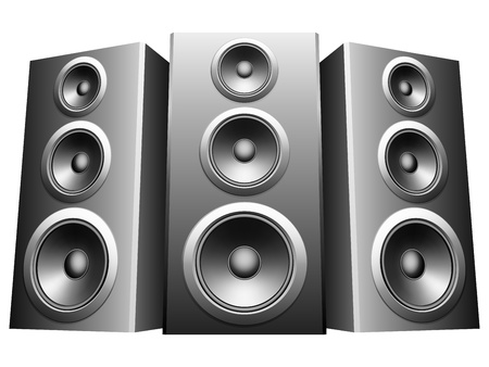 speaker icon: Three big speakers in a row.