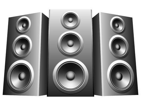 stereo: Trois grands haut-parleurs dans une rang�e. Illustration