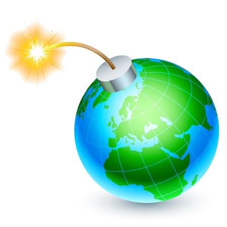 explodindo: Terra conceito bomba. Ilustra��o