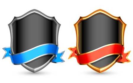 Silver and golden shields with ribbons. Vector