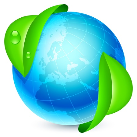 Blue globe under fresh green leaves. Stock Vector - 15266415