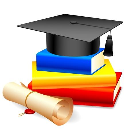 gorros de graduacion: Graduación de la tapa en la pila de libros y diploma. Vectores