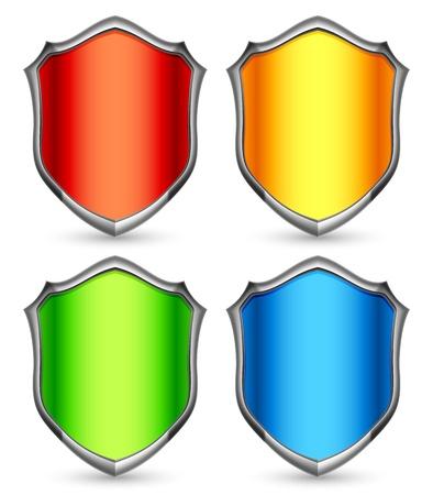 shiny shield: Color shields. Illustration