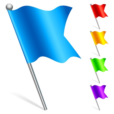 arranging: Color flags as map pointers. Illustration