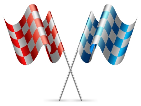 Red and blue checkered flags. Illustration