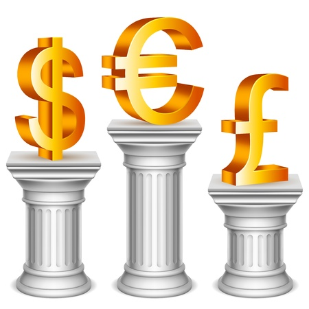 Currency symbols on sport podium. Vector