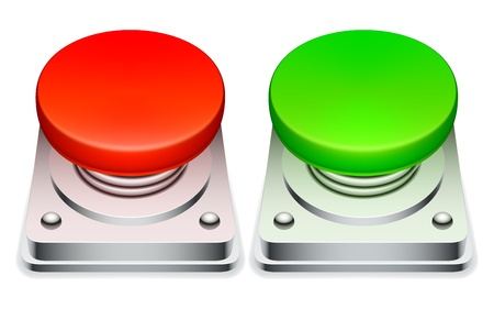 stop button: Big red and green buttons. Illustration