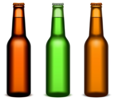 bottles of beer: Bottiglie di birra. Vettoriali