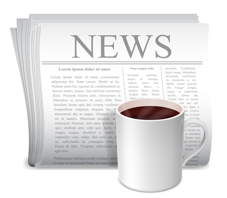 hot news: Newspaper and coffee cup  Illustration
