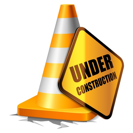 under ground: Traffic cone and under construction sign  Illustration
