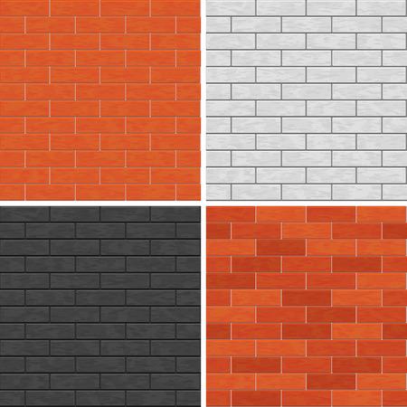 Seamless brick wall patterns  Ilustrace