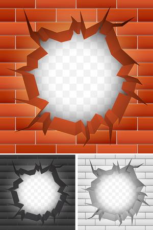 frame on wall: Crepa nel muro di mattoni Vettoriali