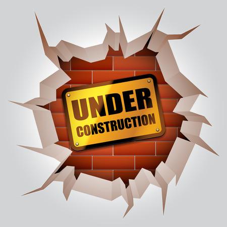 broken brick: Under construction sign inside broken wall