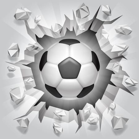 poškozené: Fotbalový míč a popraskané zeď