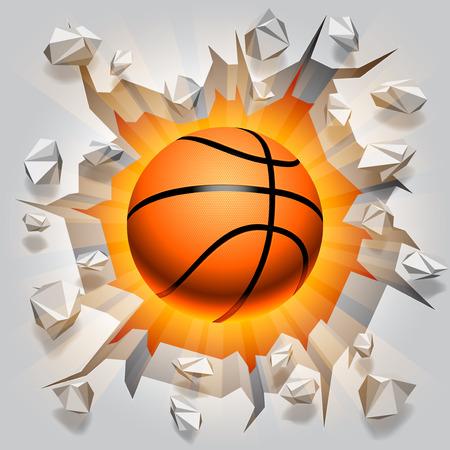 Basketball ball and cracked wall  Ilustrace