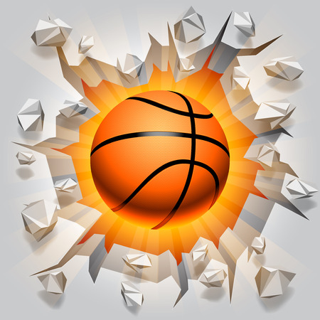 Basketball ball and cracked wall  Illustration