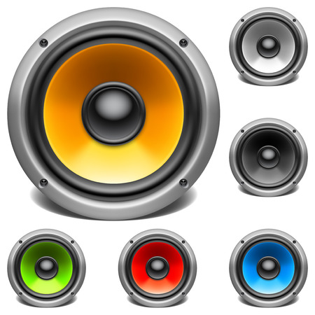 Color audio speakers  Illustration