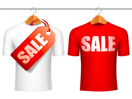 Two t-shirts with sale announcement