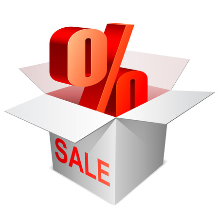 percentage sign: Percentage sign inside opened box