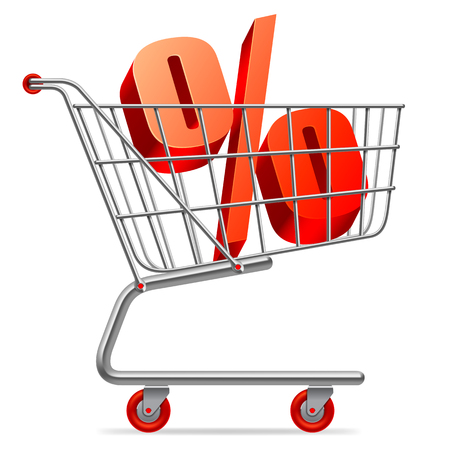 percentage sign: Red percentage sign in shopping cart