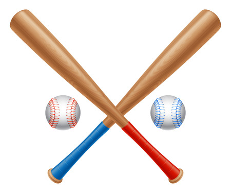 Crossed baseball bats and two baseball balls  Ilustrace