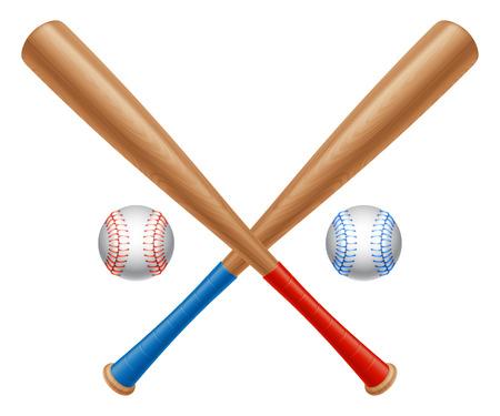 Crossed baseball bats and two baseball balls  Vector