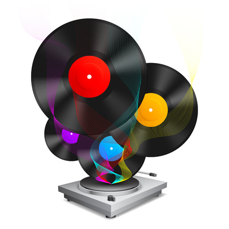TURNTABLE: Color vinyl records and turntable