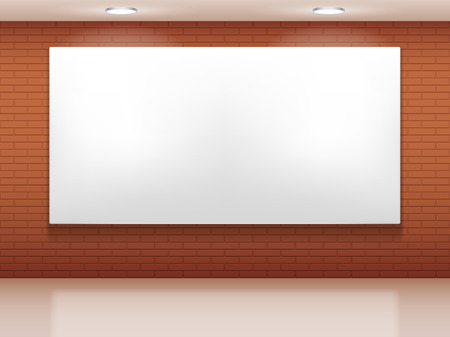 Blank white picture on brick wall  Vector