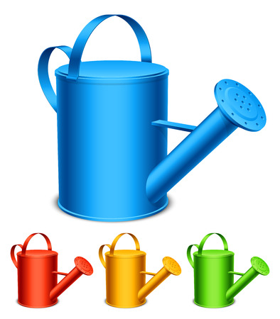Set of 4 color watering cans  Illustration