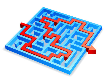 break through: Red arrow breaking through blue maze