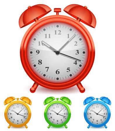 Collection of 4 color alarm clocks  Illustration