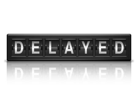 the delayed: Black information board with delayed message  Illustration