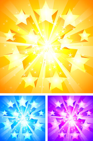 Trois milieux lumineuses avec étoiles.