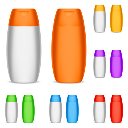 shampoo hair: Collection of color shampoo bottles. Illustration