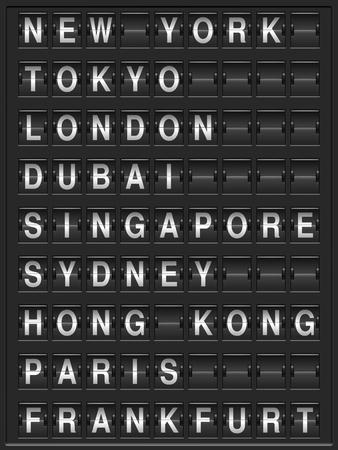 arrival departure board: Black departure board with 9 destinations. Illustration