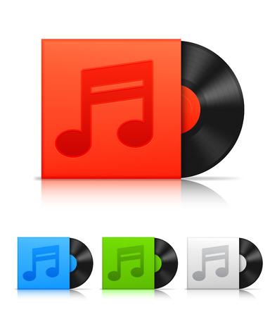 paper case: Vinyl record in color paper case. Illustration