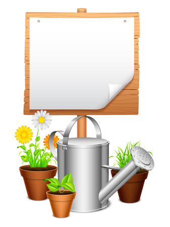 Potted plants: Watering can, potted plants and wooden signboard.